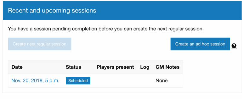 Screenshot of ad hoc session button