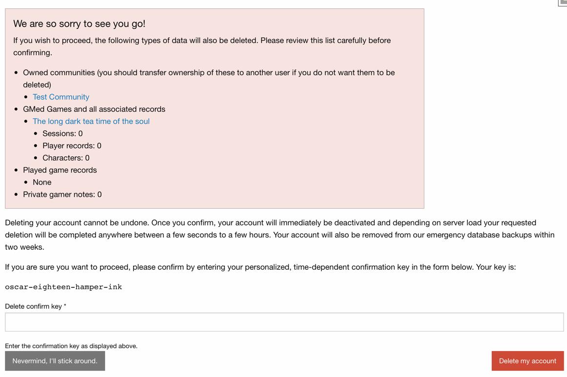 Screenshot of delete account view