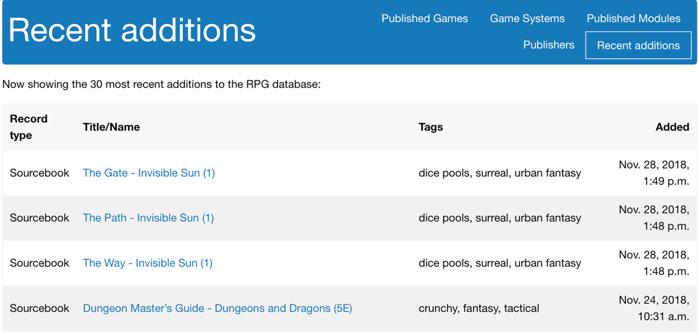 Screenshot of recent additions view